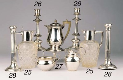 Two cut-glass silver-mounted d