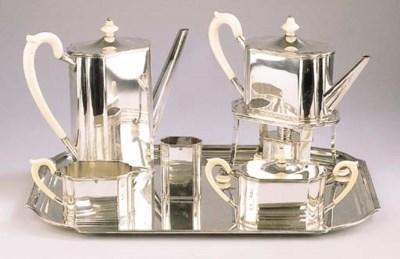 A six-piece Dutch silver tea a