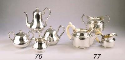 A four-piece Russian silver te
