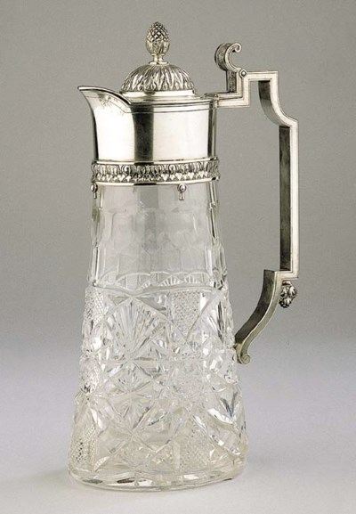 A Russian cut-glass jug with s