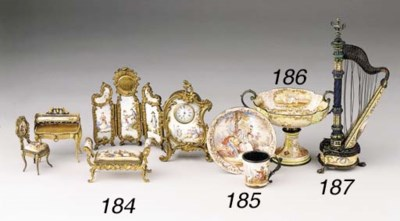 Five metal-gilt and enamelled