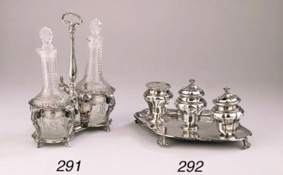A Belgian silver cruet stand w