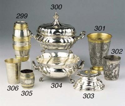 A parcel-gilt German silver do