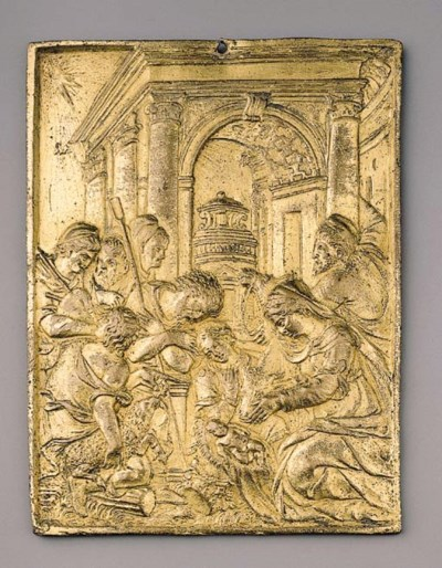 A gilt bronze plaque
