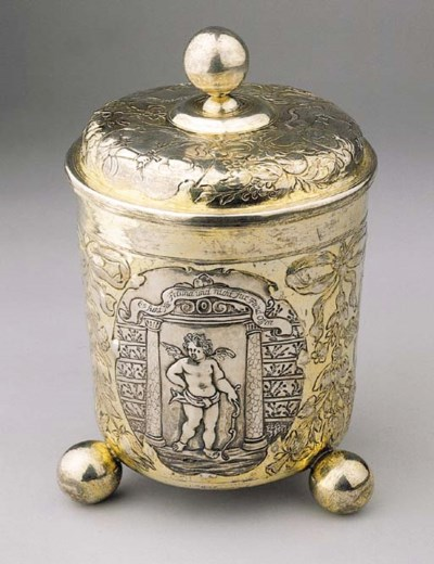 A German silver-gilt covered b
