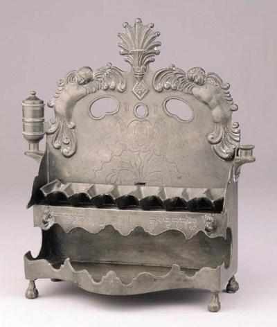 A GERMAN PEWTER CHANUKKAH LAMP