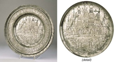 AN IMPORTANT PEWTER SEDER PLAT