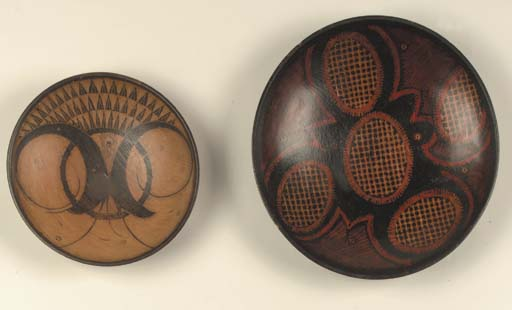 Two batik wooden dishes