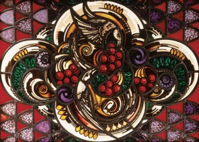 A leaded and stained glass win