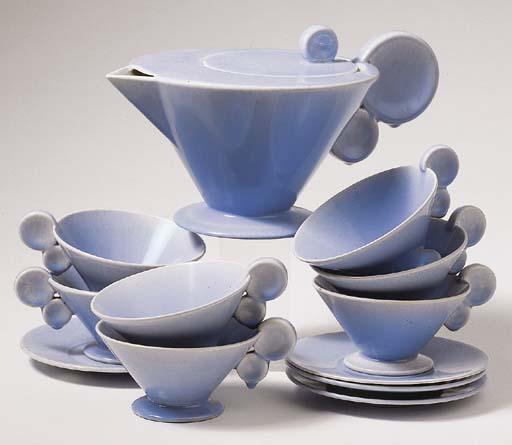 A lightblue glazed pottery tea