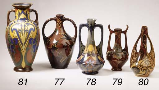 A glazed pottery two-handled v