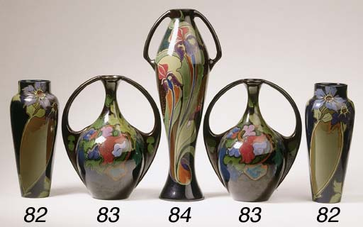A pair of two-handled glazed p