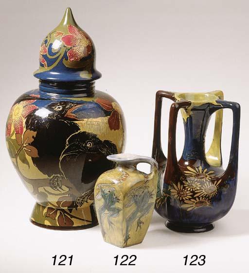 A glazed pottery jug