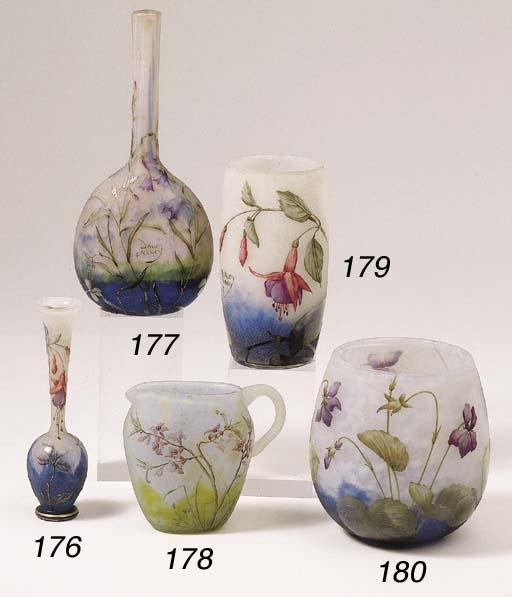 An enamelled cameo glass jug