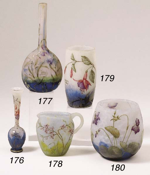 An enamelled cameo glass vase