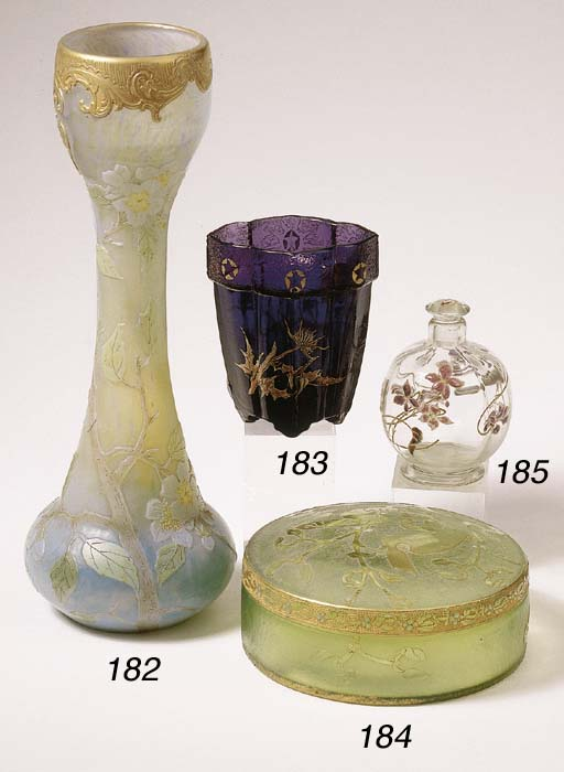 A gilt and enamelled glass sce