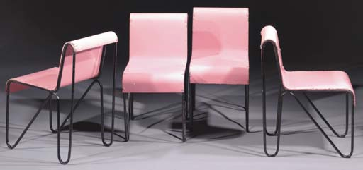 A set of four pink-lacquered B