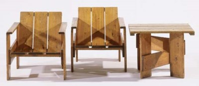 Two pinewood Crate easy chairs