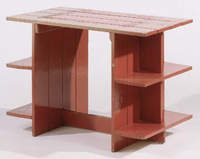 A red-lacquered pinewood Crate