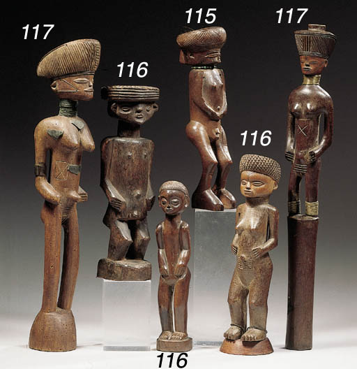 THREE CHOKWE FIGURES