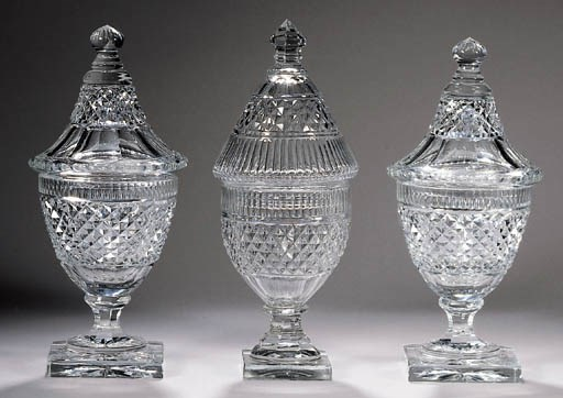 Three Baccarat cut glass ginge
