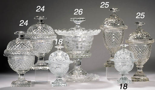 A pair of small Baccarat cut g