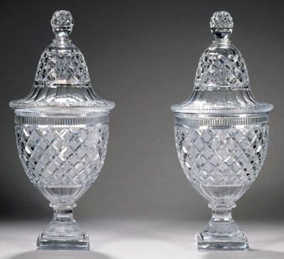A pair of large Baccarat sorbe