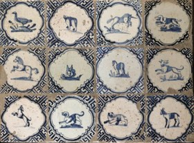 A Dutch blue and white animal wanli tile panel