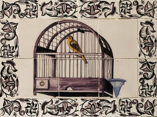 A Dutch canary cage tile pictu
