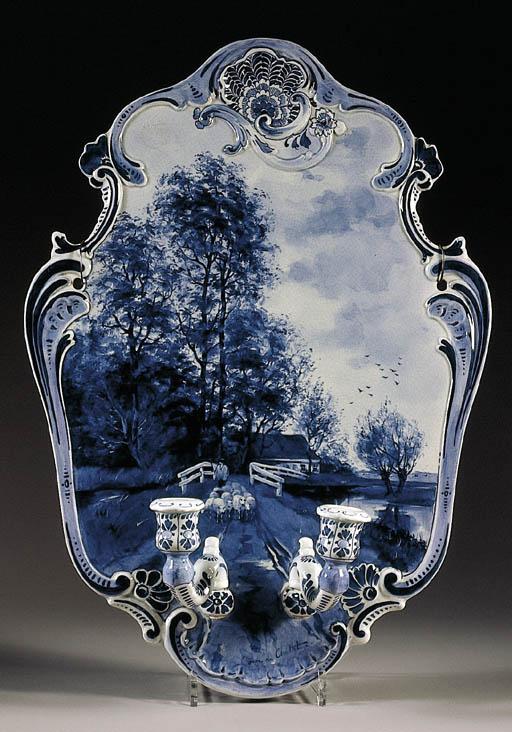 A Dutch Delft blue and white w