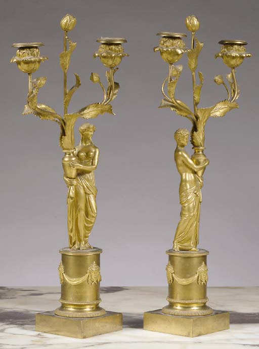 A pair of Louis XVI ormolu two