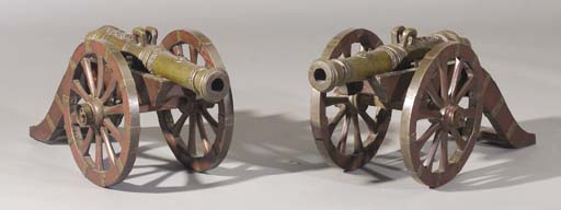 A pair of bronze miniature cannons