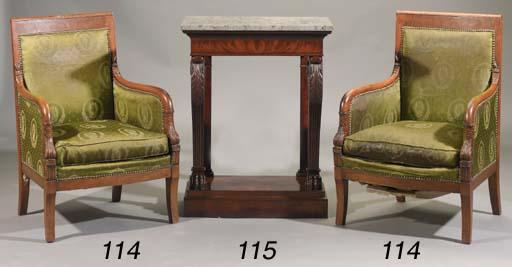 A pair of Empire oak fauteuils