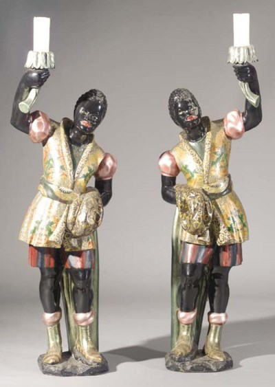A pair of Venetian polychrome-