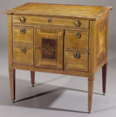 A Dutch mahogany, fruitwood an