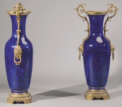 A pair of ormolu-mounted blue-