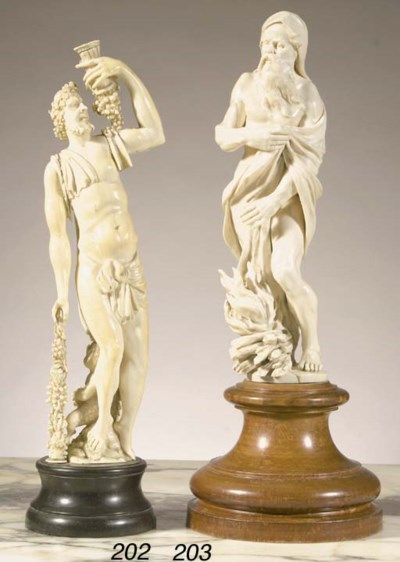 A carved ivory figure of Bacch
