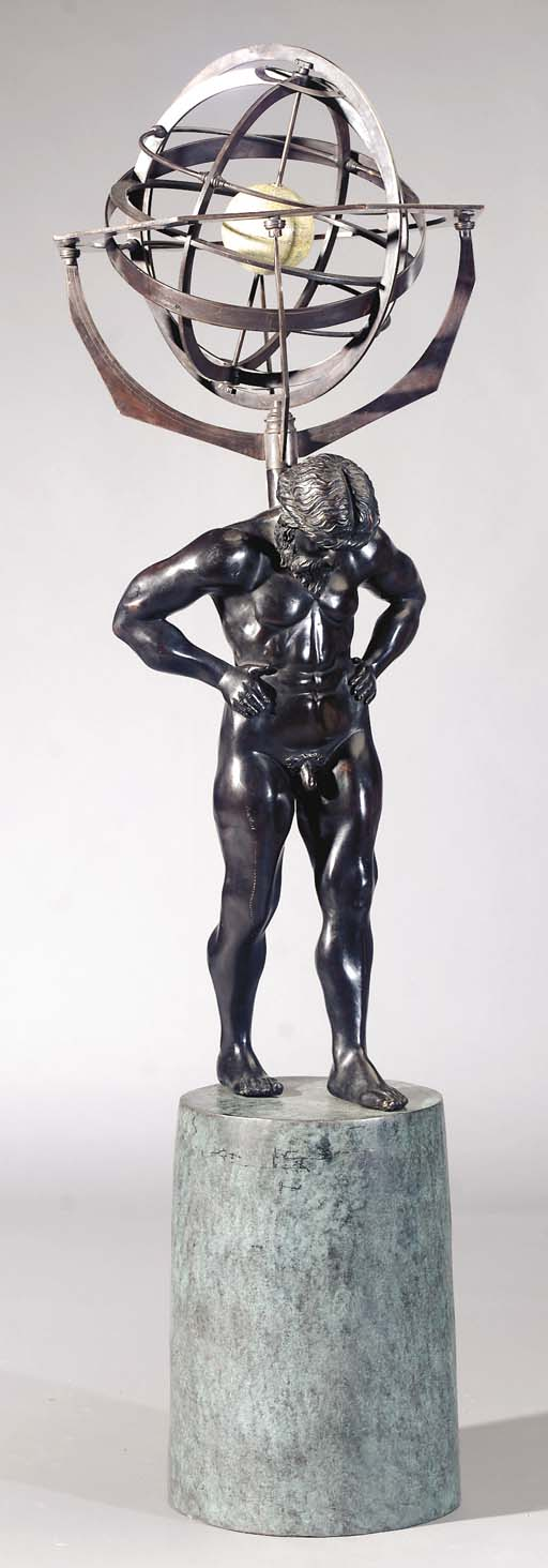 A bronze figure of Atlas