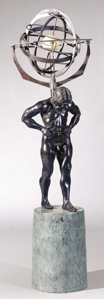 A bronze figure of Atlas