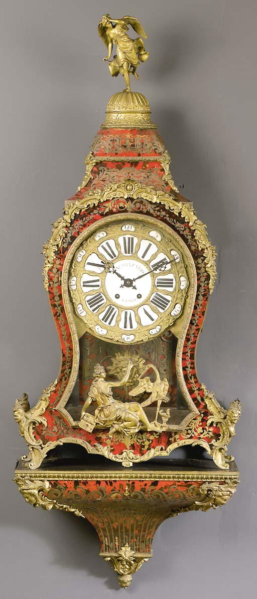 A Napoleon III ormolu-mounted tortoiseshell and brass-inlaid striking bracket clock