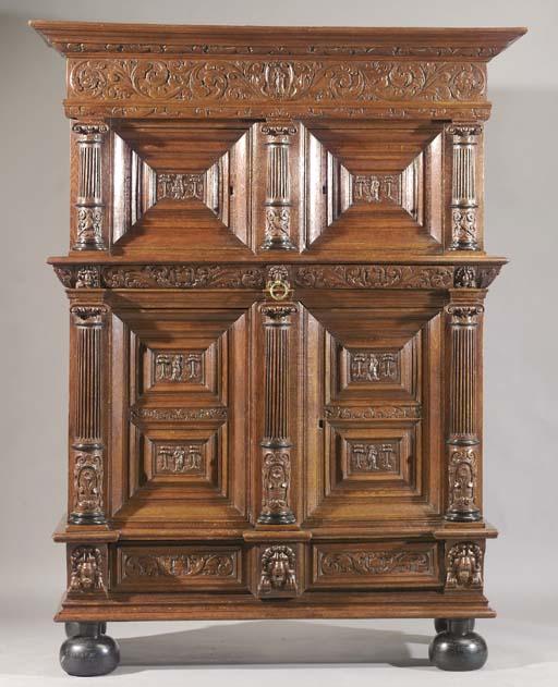 A Dutch oak and ebony cabinet