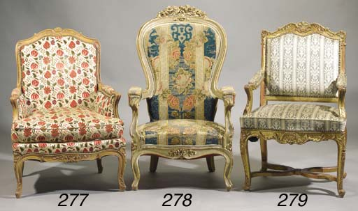 A giltwood fauteuil
