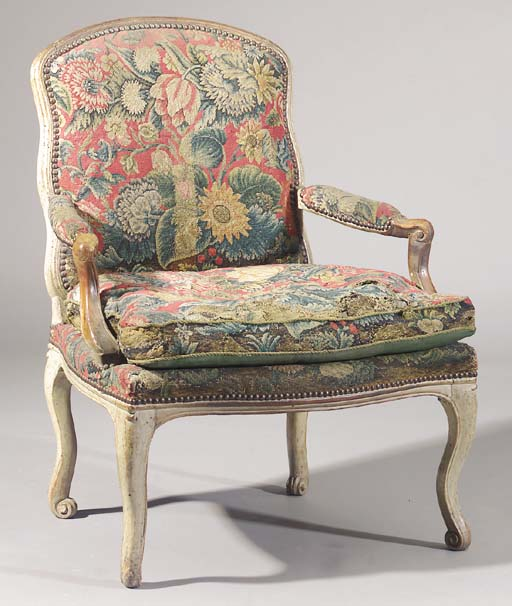 A Louis XV grey-painted beechw