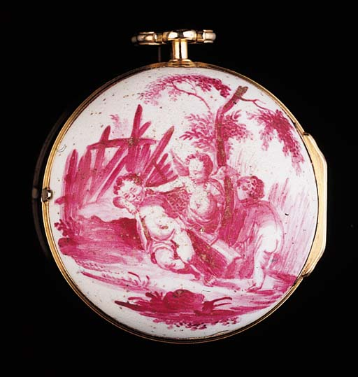THEODORE AVRIL. AN UNUSUAL GOLD AND ENAMEL VERGE POCKET WATCH, CIRCA 1770
