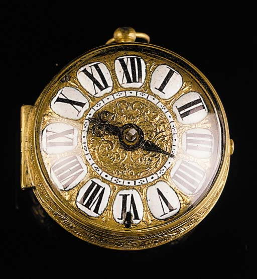 JEROME MARTINOT. ORLOGEUR DU ROI A PARIS. A GILT METAL OIGNON VERGE POCKET WATCH, CIRCA 1690