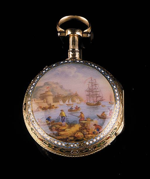 BERTHOUD A PARIS. A FRENCH QUARTER REPEATING GOLD AND ENAMEL VERGE POCKET WATCH, CIRCA 1780