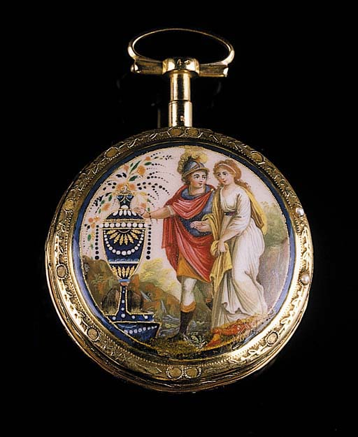 JN. ANTE REY & FILS A PARIS. A FRENCH TWO COLOUR GOLD, ENAMEL AND SEED PEARL VERGE POCKET WATCH, CIRCA 1840