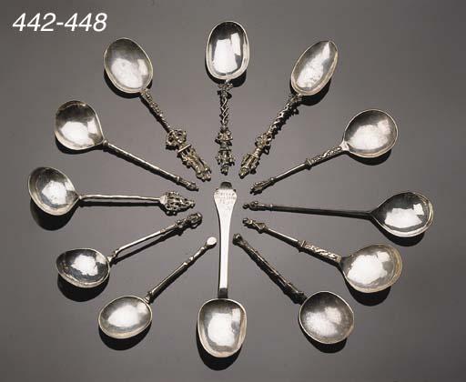 A Dutch silver spoon and a sil