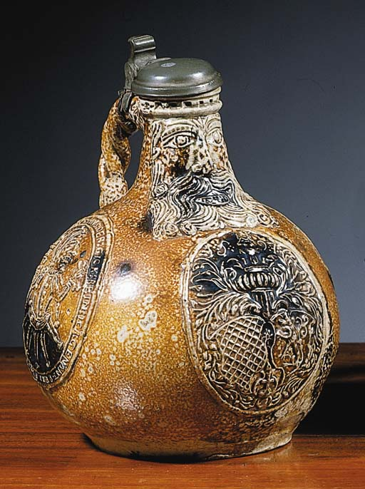 A rare Frechen stoneware dated