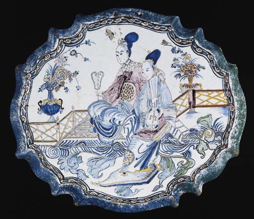 A Dutch Delft chinoiserie oval